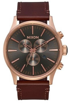 Nixon Men's The Sentry Chronograph Leather Strap Watch, 42Mm