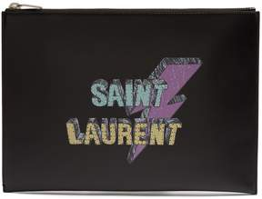 Saint Laurent Logo-print leather pouch