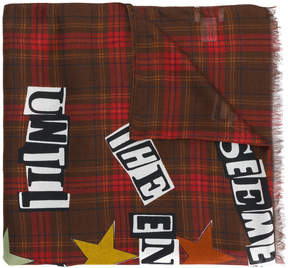 Valentino check lettered scarf