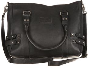 Black Studded-Strap Leather Satchel