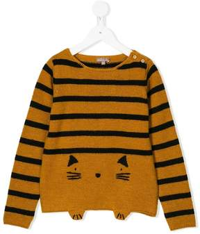Emile et Ida cat motif striped sweater