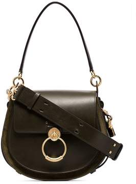 Chloé green Tess leather and suede shoulder bag