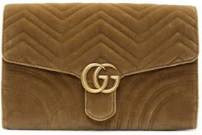 Gucci Brown Velvet GG Marmont 2.0 Clutch