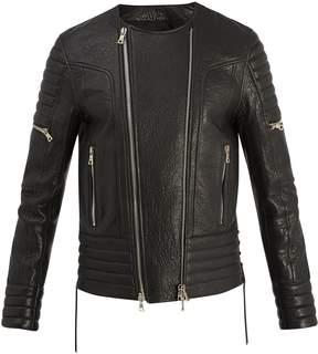 Balmain Double-zip grained-leather jacket