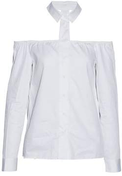 RtA Cold-Shoulder Frayed Cotton-Poplin Shirt
