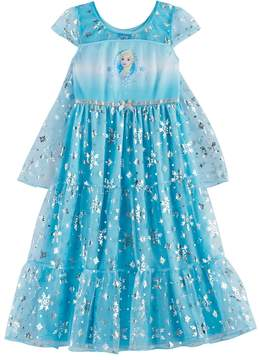 Disney Disney's Frozen Elsa Girls 4-10 Foil Snowflake Print Dress-Up Cape Nightgown