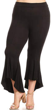 Canari Black Ruffle-Hem Flare Pants - Plus