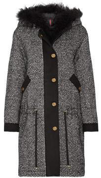 Moncler Lara Faux Shearling-trimmed Tweed Down Coat - Black