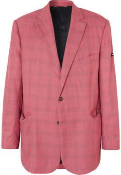 Balenciaga Red Checked Virgin Wool And Silk-Blend Blazer