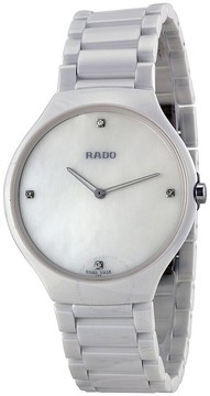 Rado True Thinline Mother of Pearl Dial White Ceramic Men's Watch