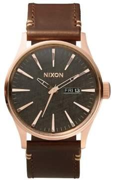 Nixon Men's A105-2001 Sentry Leather Watch, 42mm