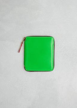 Comme des Garcons WALLET green super fluo leather line wallet