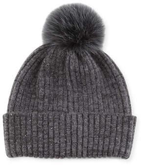 Sofia Cashmere Sequin Knit Hat w/ Fur Pompom