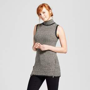 Cliche Women's Sleeveless Turtleneck Herringbone Tunic Charcoal/Tan