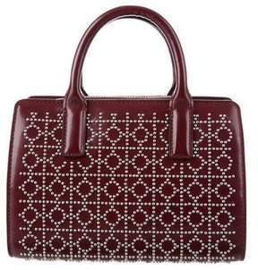 Tory Burch Mini Studded Leather Satchel - BURGUNDY - STYLE
