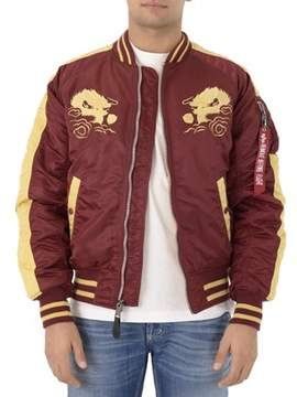 Alpha Industries Men's Red Polyester Outerwear Jacket.