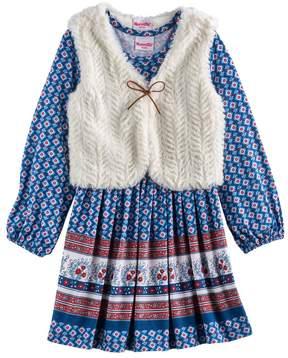 Nannette Toddler Girl Printed Dress & Vest Set