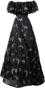 Christian Siriano Bird painted gown