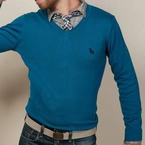 Blade + Blue Aqua Blue V-Neck Sweater