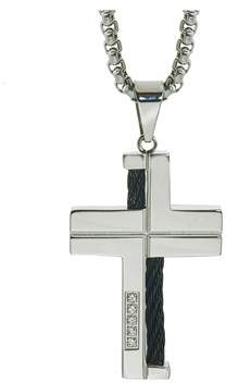 Armani Exchange Jewelry Mens Diamond Cable Cross Pendant In Stainless Steel (0.10 Carats).