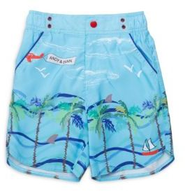 Andy & Evan Little Boys Landscape-Print Pull-On Shorts