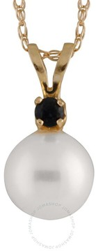Bella Pearl 14K Gold Sliding Freshwater Pearl and Sapphire Pendant