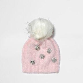 River Island Womens Light pink brooch faux fur bobble beanie hat