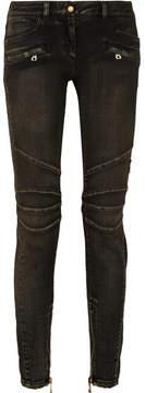 Balmain Distressed Mid-rise Skinny Jeans - Gray