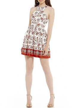 B. Darlin High-Neck Printed Fit-And-Flare Dress
