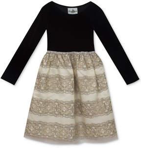 Rare Editions Embroidered Skirt & Velvet Party Dress, Little Girls (4-6X)