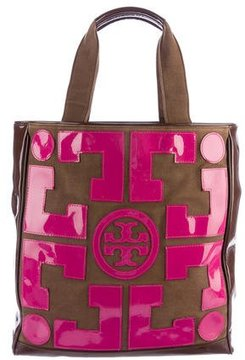 Tory Burch Patent Leather Logo Appliqué Tote - BROWN - STYLE