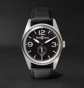 Bell & Ross Br 123 41mm Steel And Leather Watch