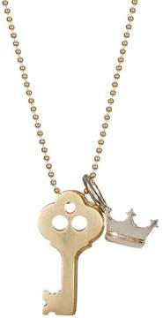 Alex Woo 14K Yellow Gold & Sterling Silver Little Luck Key Pendant Necklace