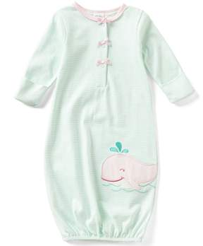 Starting Out Baby Girls Newborn-6 Months Striped Whale-Applique Gown