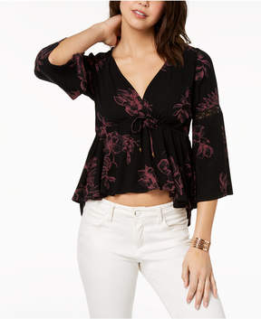American Rag Juniors' Printed Lace-Trimmed Babydoll Top, Created for Macy's