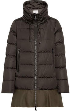 Moncler Viburnum Wool Blend-trimmed Quilted Down Coat - Army green
