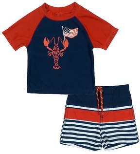 Trunks Toddler Boy Kiko & Max Patriotic Lobster Rash Guard Top & Swim Set