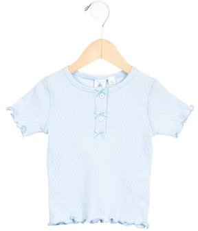 Petit Bateau Girls' Bow-Adorned Short Sleeve Top w/ Tags