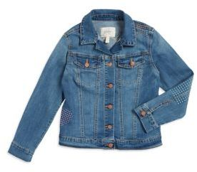 Jessica Simpson Girls Stitch-Detailed Denim Jacket