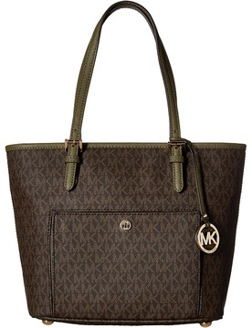 MICHAEL Michael Kors Jet Set Item Medium Top Zip Snap Pocket Tote Tote Handbags - BROWN - STYLE