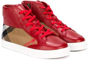 Burberry check panel lace-up hi tops
