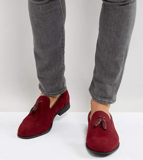 Asos Wide Fit Loafers In Burgundy Faux Suede