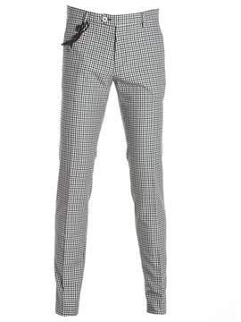 Berwich Men's Blue/grey Cotton Pants.