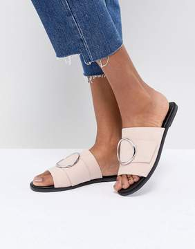 London Rebel Round Buckle Trim Sandal