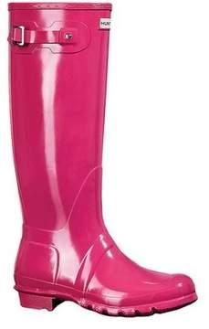Hunter Women's Original Tall Gloss Rain Boots Bright Pink 5