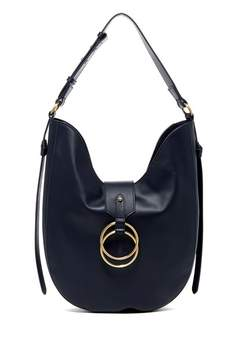 Badgley Mischka Leather Campaign Hobo Bag