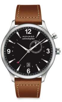 Movado Heritage Calendoplan Stainless Steel & Leather Strap Watch
