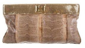 Halston Snakeskin Monique Clutch