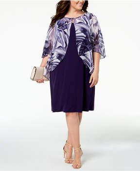 Connected Plus Size Printed Chiffon Mock-Jacket Dress