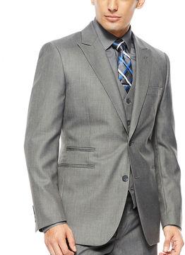 Jf J.Ferrar JF 2-Button Gray Sharkskin Suit Jacket - Classic Fit